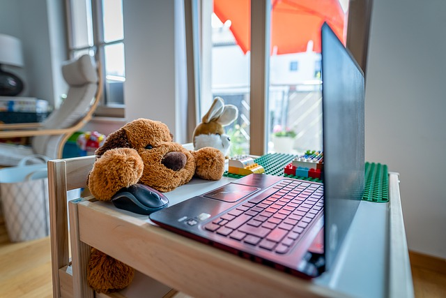 stuffed animal working at home