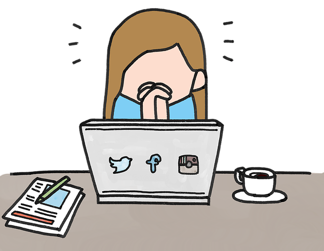 cartoon of a woman praying over a laptop, waiting for a reply to her business email