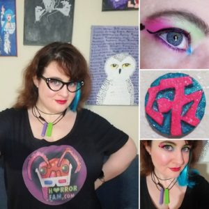 Lauren Spear wearing a HorrorFam.com t-shirt, Lauren's eyeball showing off some makeup, a hot pink + blue zotz coin, and Lauren Spear's face without her glasses on.